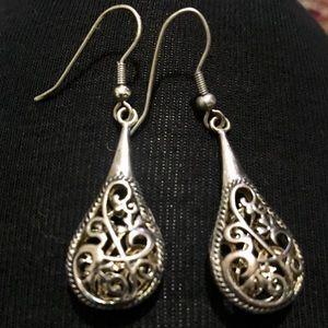 Oriental silver ornate gypsy teardrop earrings